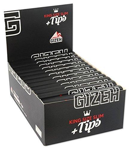 Gizeh 15558 Cartine lunghe set da 26 confezioni con 34 cartine da 14 g//m2 con filtri Tips di King Size Slim
