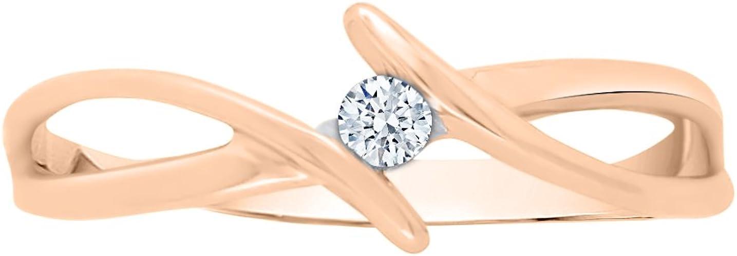 1//20 cttw, 3 Diamond Promise Ring in 14K White Gold G-H,I2-I3 Size-7.75