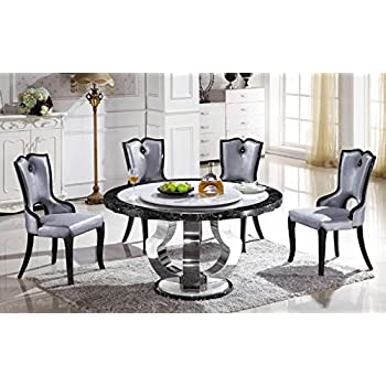 Round Marble Dining Table With Lazy Susan T 6316 (Table Only)