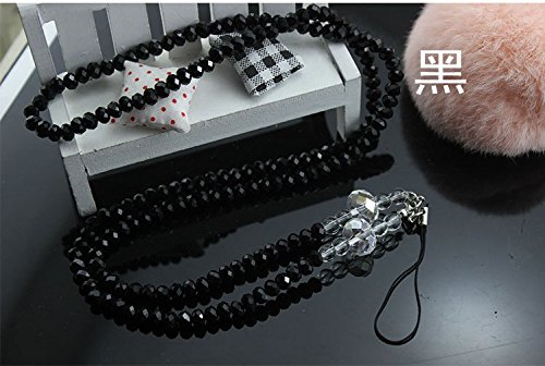 Beaded Cell Phone Case - Surpriseyou(TM) Crystal Style Fashion Women's Beaded Neck Strap Lanyard Keychain Holder for Cell phone ipod mp3 mp4 USB Flash Drive ID card badge and other Electronic Devices (Crystal Black)