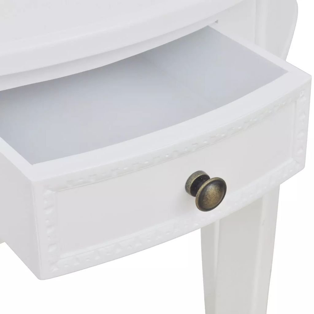 Vislone Tavolo Consolle Semicircolare Bianco con Cassetto,80 x 40 x 78 cm L x P x A