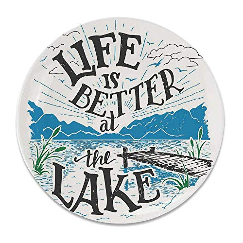 YOLIYANA Cabin Decor Funny Decorative Plate,Life is Better at The Lake Wooden Pier Plants Mountains Outdoors Sketch Decorative for House,7 inch (1 Pier Plates Zebra)