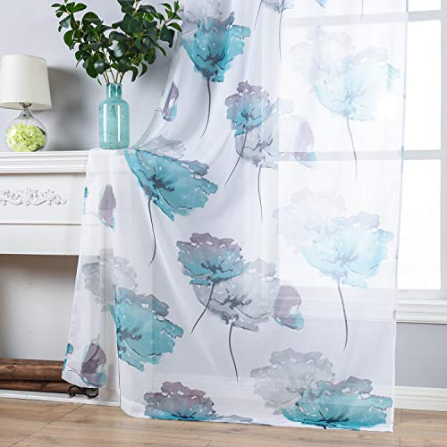 Contemporary Watercolor Petal Print Curtains 84 Inch Length 2 Pieces Green Flower Curtains for Patio Glass Door,Ornamental Grommet Floral Sheer Curtains,2 Panel Set,54W ×84L Inches,Blue-Green