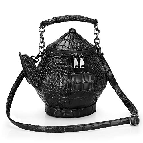 Funny Purse, Gothic Teapot Shaped Crossbody Handbag Top-handle Funky Tote Women's Novelty Shoulder Bags