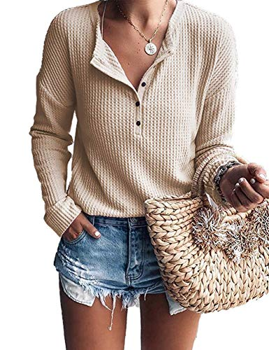 WNEEDU Women's Waffle Knit Tunic Tops Loose Long Sleeve Button Up V Neck Henley Shirts Light Apricot S