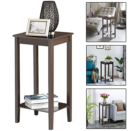 SSLine Tall Wood End Table Chairside Coffee Table Espresso Finish Bedside Table Nightstand with Storage Shelf Simple Sofa Couch Side Telephone Table - 29 Inch High