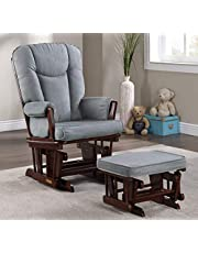 Lennox Furniture Glider Chair and Ottoman Combo Espresso with Grey Fabric (7043CB.02.1139)