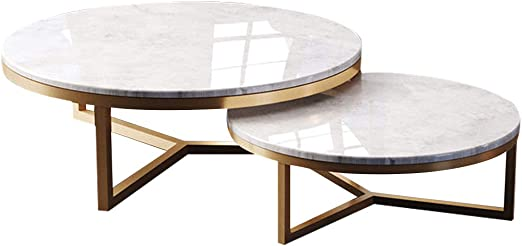 Xwzjy Round Nesting Tables Creative Marble Stackable Coffee Table