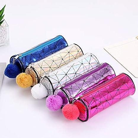 color morado 21*8cm Estuche de l/ápices con forma de cilindro para estudiantes y ni/ñas Jingyuu