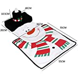 Towallmark New Snowman Santa Toilet Seat Cover and Rug Set for Bathroom Christmas Decorations