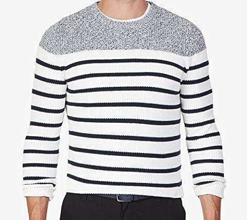 Nautica Men's Breton Stripe Sweater, Marshmallow, Medium - Breton Stripe