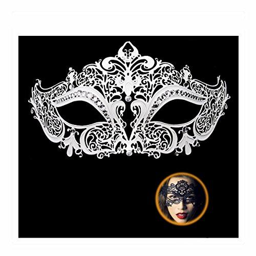 Masquerade Mask for Women Shiny Rhinestone Venetian Party Prom Ball Metal Mask (Kitty White) ()