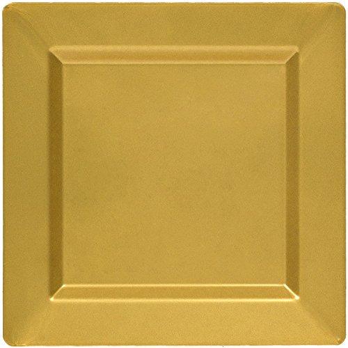 438550.19 Amscan Premium Gold Plastic Square Plates 6 Ct TradeMart Inc
