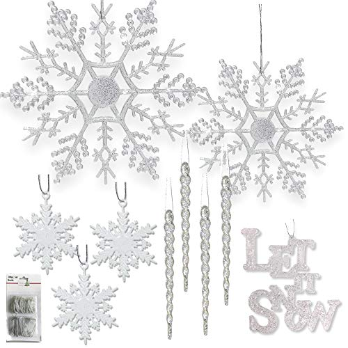 BANBERRY DESIGNS Winter Wonderland Decorations - Set of 68 Assorted Christmas Ornaments and 2 Let it Snow Sign - Snowflakes - Icicles - White Glittery Xmas Ornaments