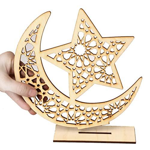 (Eid Mubarak Ramadan Wooden Plaque Ornament,Muslim Islam Hanging Pendant,Wooden Ornaments Happy Eid Mubarak Ramadan Home Room Table Decoration Craft Art)