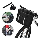 ANZOME Handlebar Bike Basket, Folding Small Pet Cat Dog Carrier Front Removable Bicycle