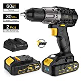 Cordless Drill/Driver 20V Max, TECCPO Power Drill with 4-pole Motor, 2pcs 2.0Ah Batteries, 30mins Charger, 530 In-lbs, 1/2'' Chuck, 24+1 Torque Setting, 2 Speeds, LED Light, 29pcs Accessories - TDCD03P