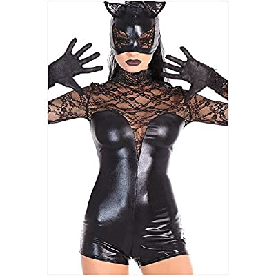 Blorse Black High-Necked Leotard Openwork Lace Catwoman Costume