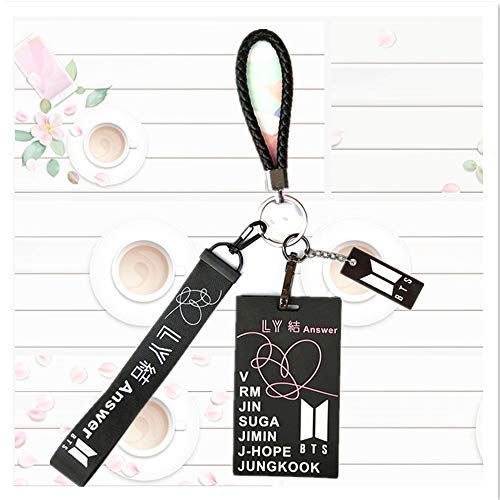 BTS Love Yourself 結 'Answer' with Silicon ID Card Badge Holder with Detachable Metal Clip and BTS Keychain, BTS Black Short Lanyard with ID Card Badge Holder, Awesome Gift for Your Friend Kids Family