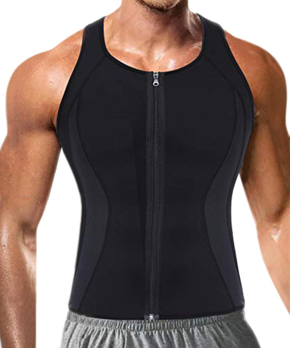 6f4a48f51 Bingrong Men s Neoprene Thermal Body Shaper Zipper Waist Trainer Vest Sauna  Suit for Weight Loss product