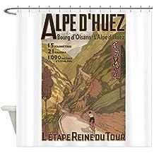 CafePress - Alpe D' Huez, Bicycle, Vintage - Decorative Fabric Shower Curtain