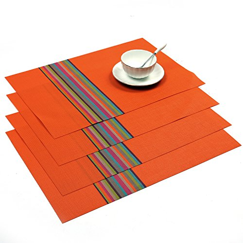 SHACOS Rectangle PVC Placemats for Table Heat Insulation Stain-resistant Woven Vinyl Kitchen Placemat Set of 4 (4, (Orange Place)