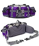 YUOTO Outdoor Fanny Pack Hiking Camping Cycling Hunting Fishing Waist Pack 2 Water Bottle Holder Lumbar Bag for Women and Men Purple