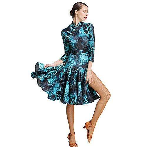 Lady Dance XXL Ballroom Elegante Manuale Con Fork Split Dance Collare Retrò Bottone Slim Spandex JIU Green Abito Q Ballo q5wUEIq