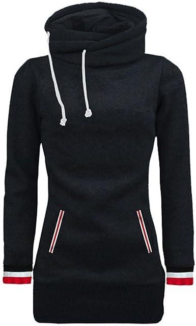 Womens Hoodie Sweatshirts Tunic Tops Solid Long Sleeve Hooded Jumper Blouse Sweatshirts Pullover Tops