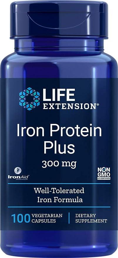 Life Extension Proteína Hierro Plus, 300 Mg - 100 Caps 70 g ...