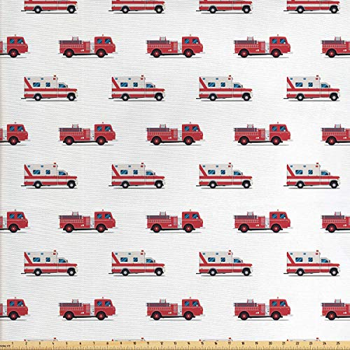 - Lunarable Fire Truck Fabric by The Yard, Pattern of The Fire Engines and Ambulances Security Safety and Rescue Vehicles, Decorative Fabric for Upholstery and Home Accents, 1 Yard, Multicolor