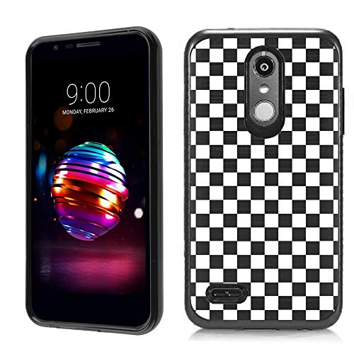 Checkers Protector Case (Dual Layer Case for LG Aristo 2 / Aristo 2 Plus/Tribute Dynasty, One Tough Shield Hybrid Shockproof Protective Phone Case with Brushed Texture - Checker B/W)