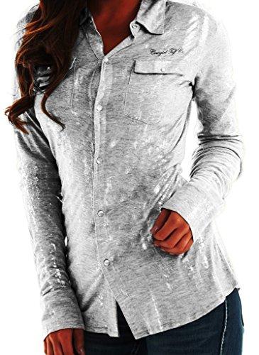 Cowgirl Tuff Western Shirt Womens L/S Button Foil XL White H00351