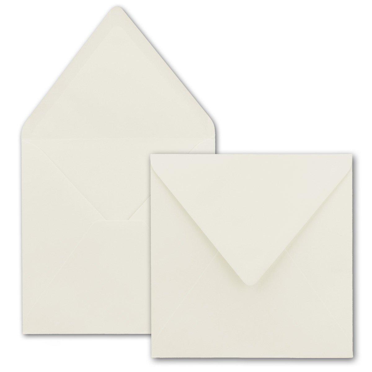 F/ür Einladungen /& Hochzeit! Farbe Naturwei/ß 75 St/ück Serie FarbenFroh/® Nassklebung Quadratische Brief-Umschl/äge 155 x 155 mm
