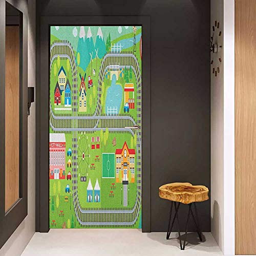 Door Sticker Kids Activity Train Tracks with Colorful Town School City Mall and Amusement Park Fair Glass Film for Home Office W36 x H79 Multicolor