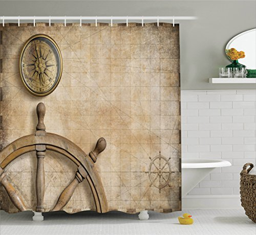 treasure map shower curtain - 7
