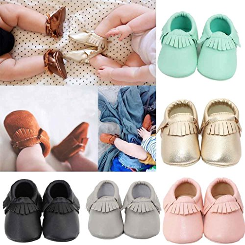 Tefamore zapatos bebé embroma de cuero suaves de suavidad de borla infantiles del niño de la muchacha del muchacho Gris