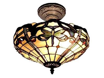 Dale Tiffany TH12151 Cabrini Semi Flush Mount Light Fixture, Antique Bronze
