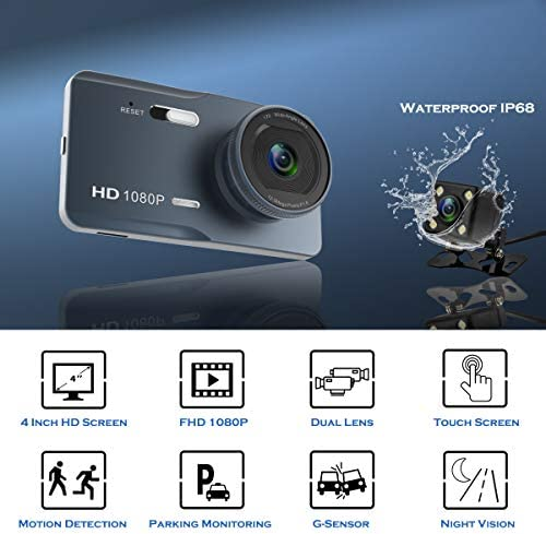 ZOMFOM Dash Cam Front and Rear Car Vehicle Camera 4.0 IPS Touch Screen 170 Degree Wide Angle 1080P Dashboard Recorder with Night Vision, G-Sensor, WDR, Motion Detection and Parking Monitor
