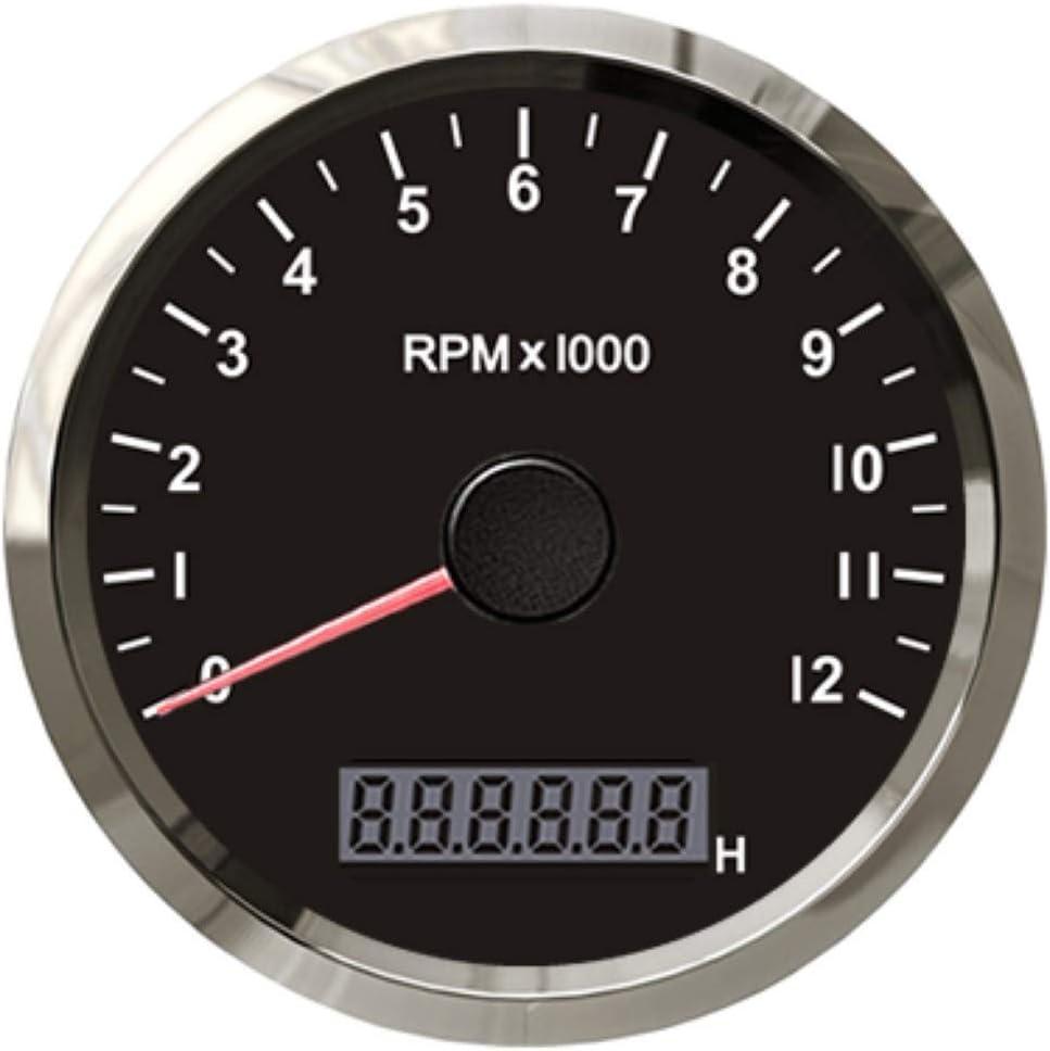 ELING Waterproof RPM Tachometer Gauge 0-12000RPM with LED Digital Adjustable Hour Meter and RPM Alarm 85mm with Backlight 12V//24V