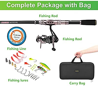 PLUSINNO® Spinning Rod and Reel Combos FULL KIT Telescopic Fishing Rod Pole with Reel Line Lures Hooks Fishing Carrier Bag Case and Accessories Fishing Gear Organizer from PLUSINNO
