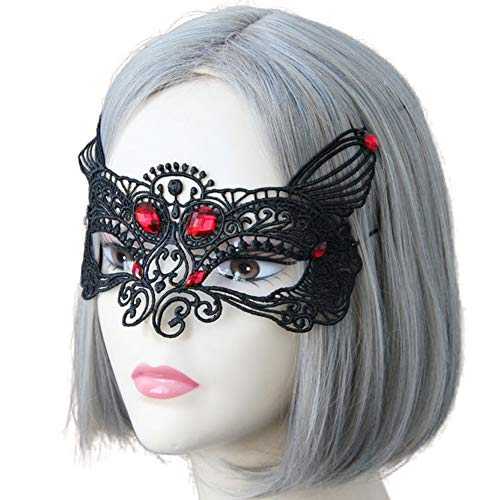 Aland Women Rhinestones Hollow Lace Eye Mask Sexy Masquerade Halloween Fancy Party Half-face lace Makeover Prom Fox Princess Mask Transvestite Women Veil Sex Bleach Jewelry Black