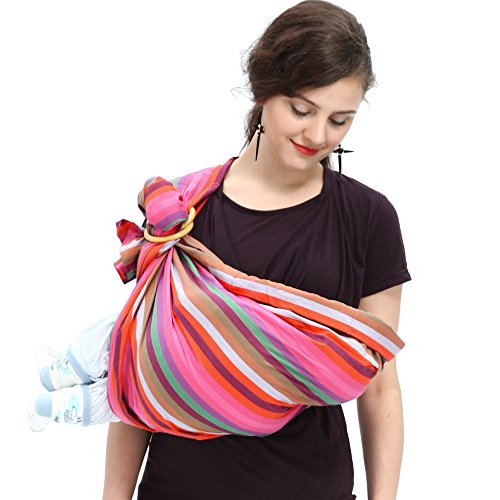 Mamaway Ring Sling Baby Wrap Carrier for Infant, Newborn, Toddler, Nursing Cover, Breastfeeding Privacy, Baby Holder, Breathable Fabric, 100% Cotton-Rainbow Crayon