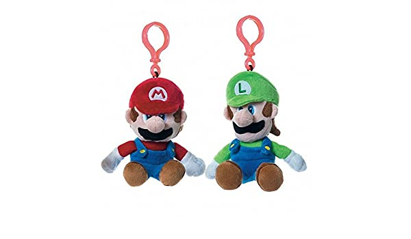 Pack 2 Llaveros Clip On Peluches Mario Luigi Super Mario Bros Soft 15-17 cm: Amazon.es: Juguetes y juegos