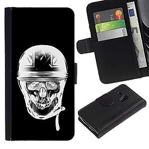 Be-Star la tarjeta de Crédito Slots PU Funda de cuero Monedero caso cubierta de piel Para Samsung Galaxy S3 MINI 8190 (NOT S3) ( Biker Black White Motorcycle Helmet )