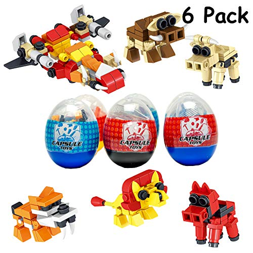 6 Pack Animal Toy| Mini Building Blocks Animal STEM Toys|2 in 1 Surprise Egg with 52Pcs Building Bricks Toys. Party Favor for Kids, Goodie Bags, Birthday, Carnival Prize, Easter, Boys, Girls, Toddlers