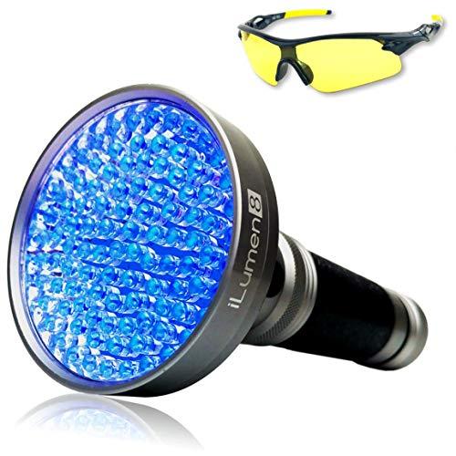iLumen8 UV Black Light Flashlight 100 LED #1 Best UV Light and Blacklight for Pet Urine & Stains, Home & Hotel Inspection - Ultra Intensity Bulbs 385-395nm spot Leaks, Scorpions- UV Safety Glasses