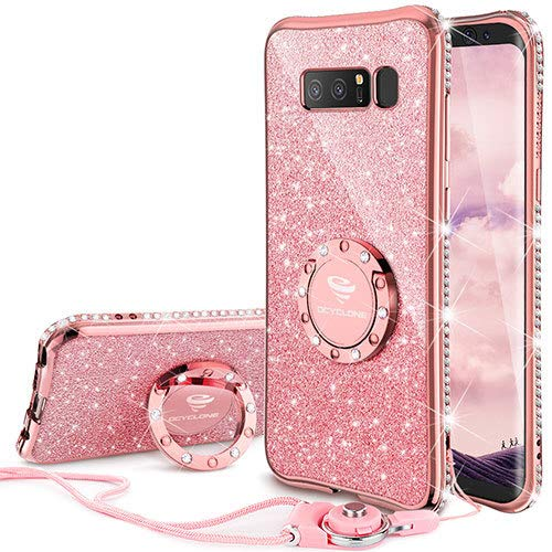 Galaxy Note 8 Case, Glitter Cute Phone Case Girls with Kickstand, Bling Diamond Rhinestone Bumper Ring Stand Sparkly Luxury Thin Soft Protective Samsung Galaxy Note 8 Case for Girl Women - Rose Gold