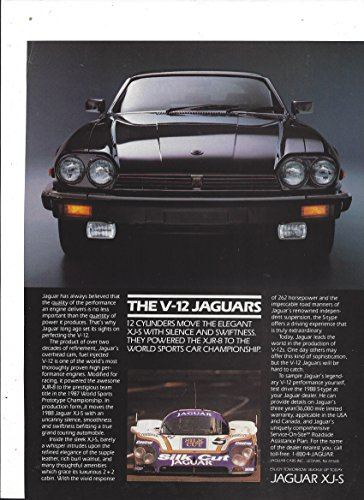 Xjs Models (MAGAZINE ADVERTISEMENT For 1988 Black Jaguar XJ-S V-12 Street & Race Model)