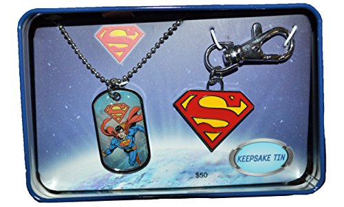 Superman Dog Tag and Key Chain Gift Keepsake Tin Set